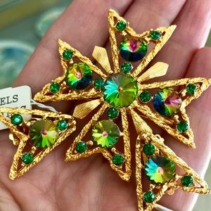 New NWT vintage Weiss Maltese cross Rivoli set pin